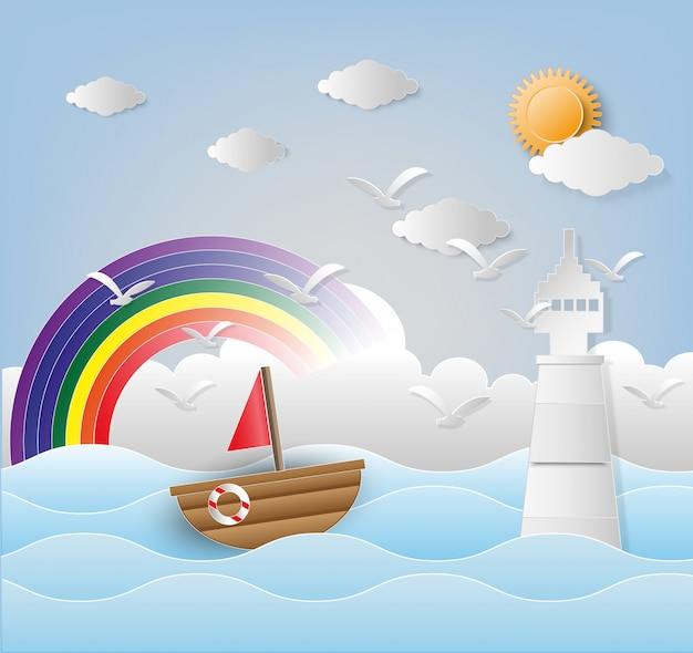 Illustration of lighthouse with seascape. paper art and digital craft style. Premium Vector