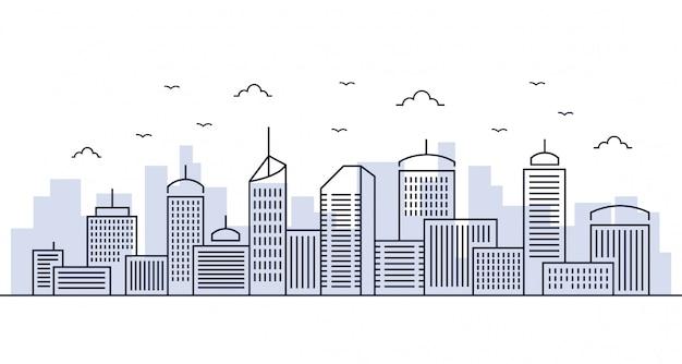 Illustration line city Premium Vector