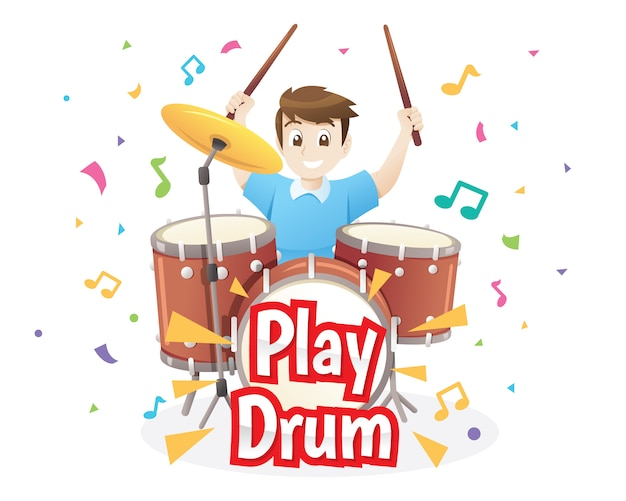 Illustration of little boy playing drums Premium Vector