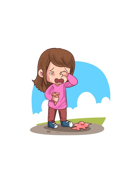 Illustration of little girl crying Premium Vector