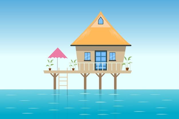 Illustration of the lodge on beach Premium Vector