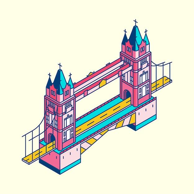 Illustration of london bridge in uk Free Vector