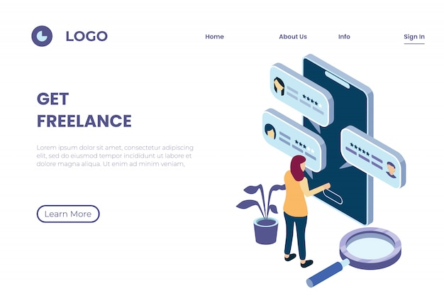Illustration of looking for freelancers through online platforms, freelance service providers, rating and customer reviews in isometric 3d illustration style Premium Vector