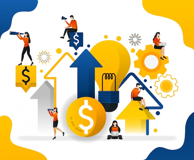 Illustration looking for ideas to increase wealth and profit in business Premium Vector