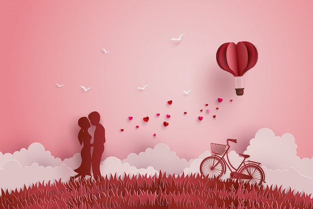Illustration of love and valentine day Premium Vector