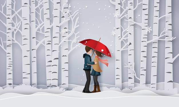Illustration of love and winter season , Premium Vector