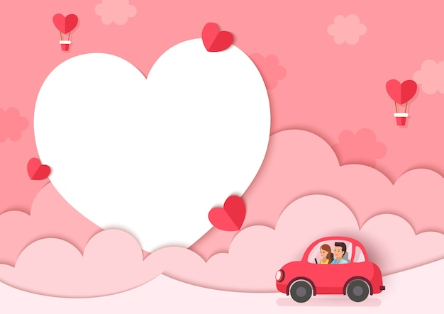 Illustration of lover on car with pink background and heart frame Premium Vector