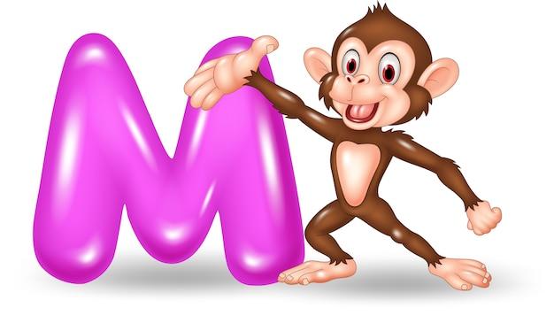 Illustration of m letter for monkey Premium Vector