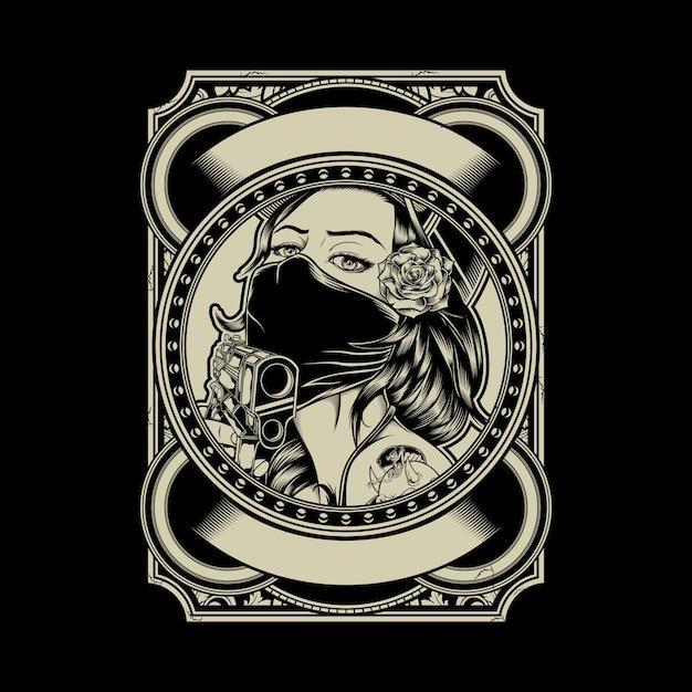 Illustration of mafia girl wearing cap and rose Premium Vector