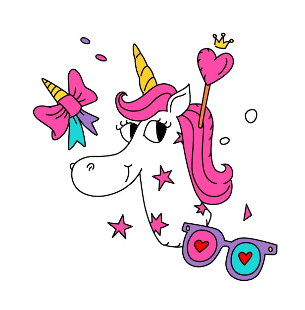 Illustration of a magical unicorn with a pink mane. Premium Vector