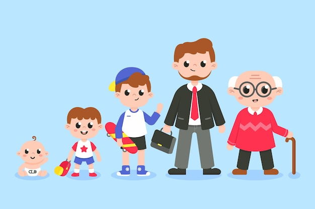 Illustration of man in different ages Free Vector