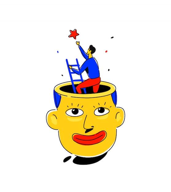 Illustration of a man's head Premium Vector