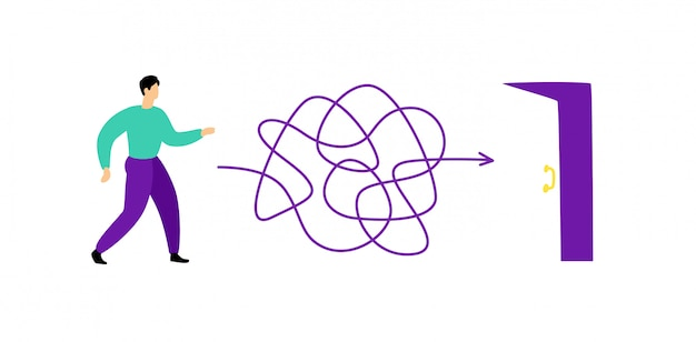 Illustration of a man walking through a labyrinth to the exit. vector. Premium Vector