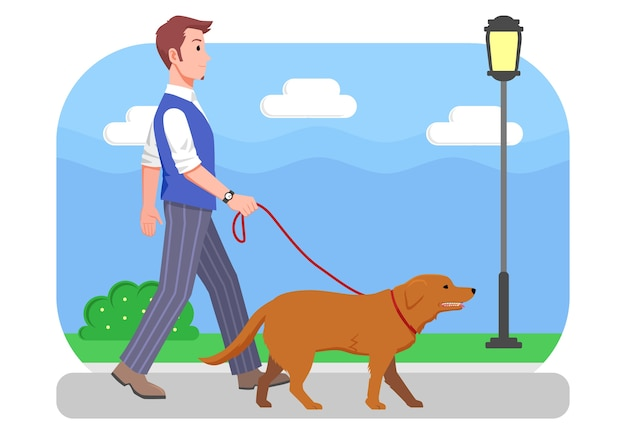 Illustration man walking with his dog Premium Vector
