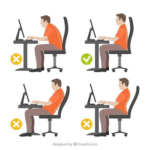Illustration of man with correct and incorrect posture Free Vector