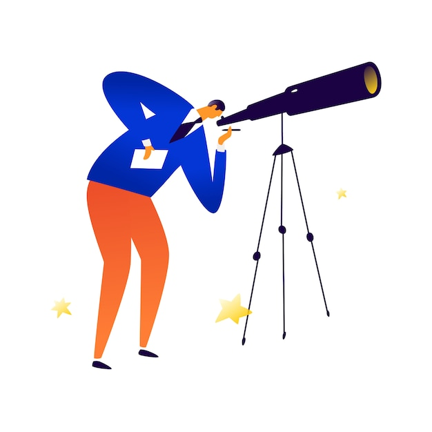 Illustration of a man with a telescope Premium Vector
