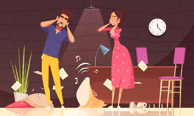 Illustration of man and woman closing ears and loud howl of puppy at home Free Vector