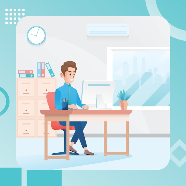 Illustration of a man working in an office room Premium Vector