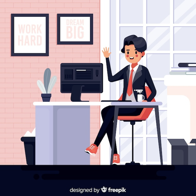 Illustration of man working at the office Free Vector