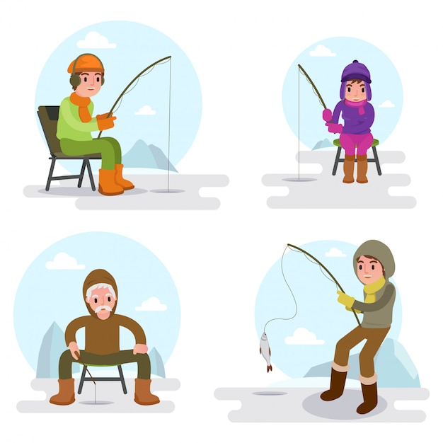Illustration of many people fishing on the lake in winter season isolated Premium Vector