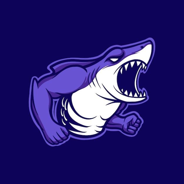 Illustration mascot logo angry shark with cartoon style Premium Vector