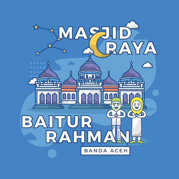 Premium Vector Illustration Of Masjid Raya Baiturrahman Banda Aceh Indonesia Landmark
