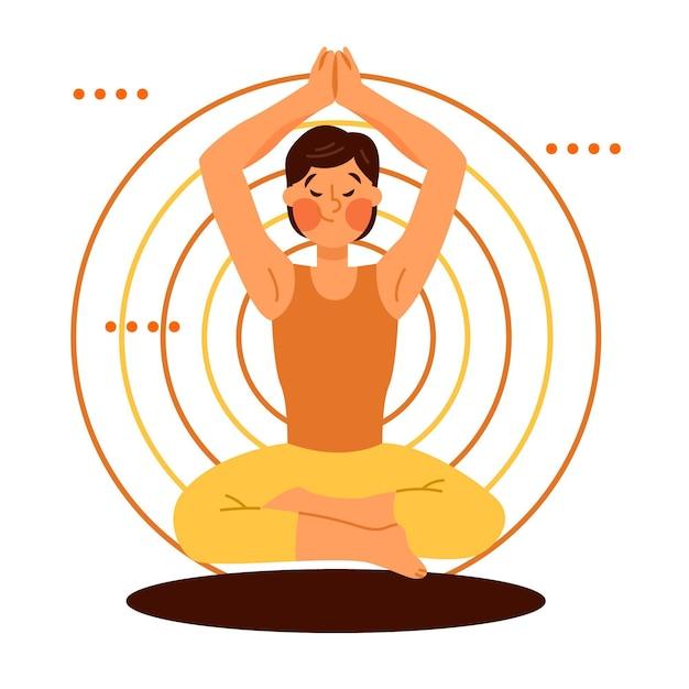 Иллюстрационная медитация Бесплатные векторы