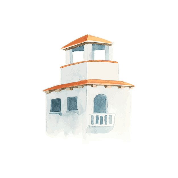 Illustration of mediterranean city building exterior water color style Free Vector