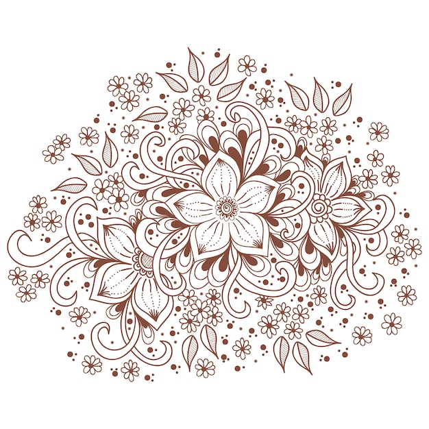 Illustration of mehndi ornament. traditional indian style, ornamental floral elements Free Vector