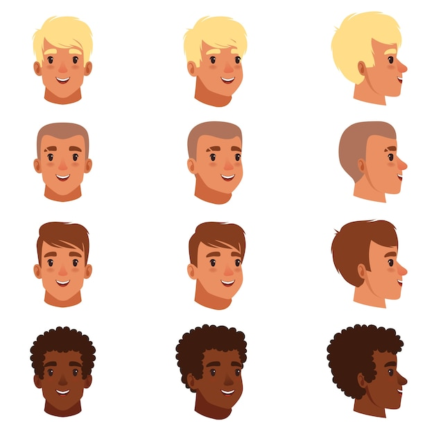 Illustration of men head avatars set with different haircuts Premium Vector