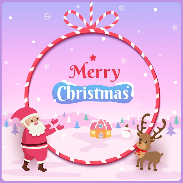 Illustration  of merry christmas design with santa claus and reindeer on rope frame and snowy . Premium Vector