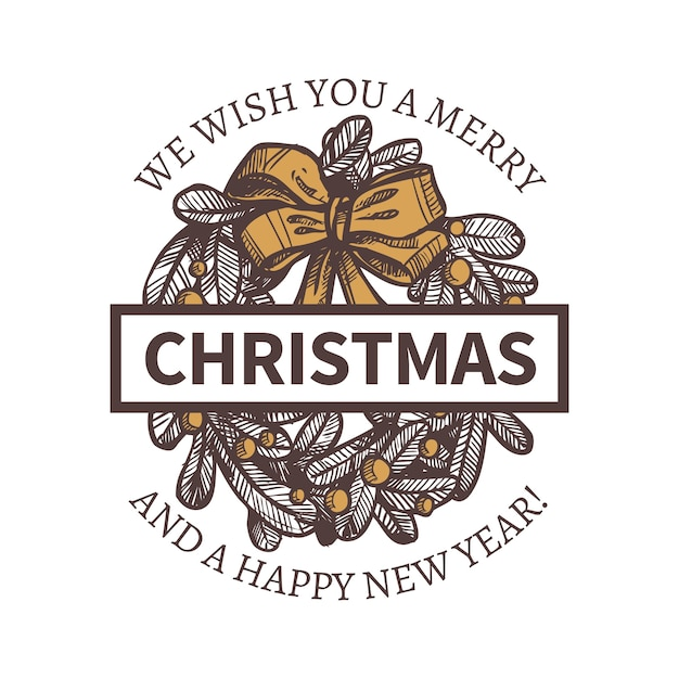 Illustration of merry christmas and happy new year with hand drawn decorative fir wreath. Premium Vector