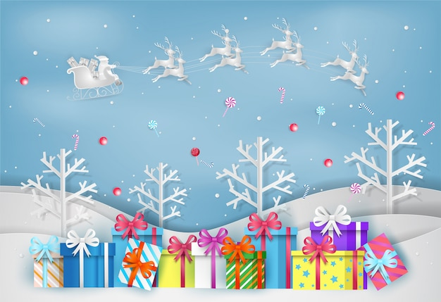 Illustration of merry christmas and new year with colorful gift box. paper art and craft s Premium Vector