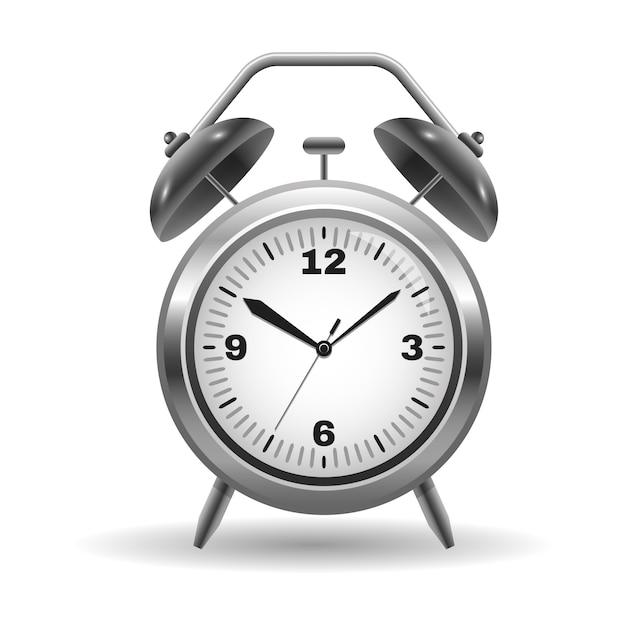 Illustration of a metal alarm clock isolated Premium Vector