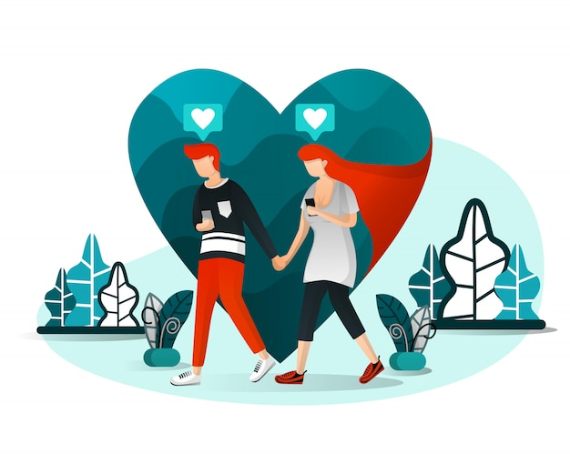 Illustration of millennial love story Premium Vector