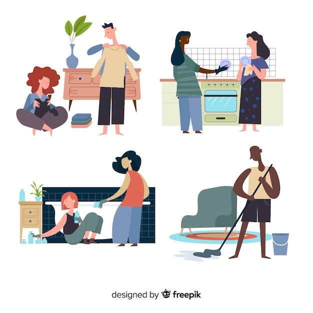 Illustration of minimalist characters doing housework set Free Vector