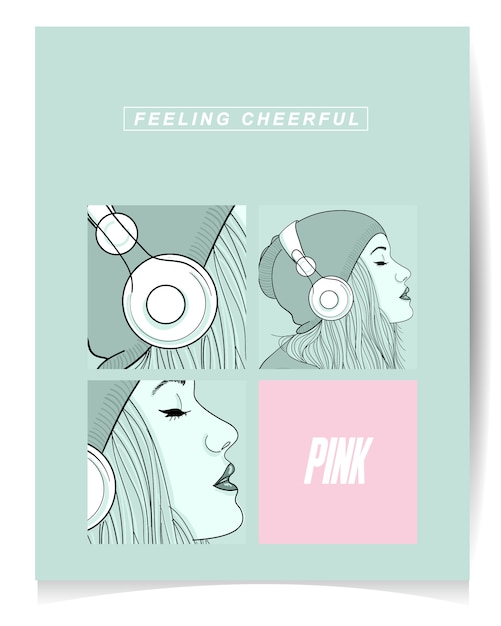 Illustration of modern girl listening music. feeling cheerful Premium Vector