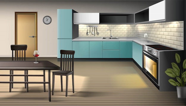 Premium Vector Illustration Of Modern Realistic Kitchen Interior With Utensils Oven With Light Cabinets Shelves With Bar Stools And Bar Table