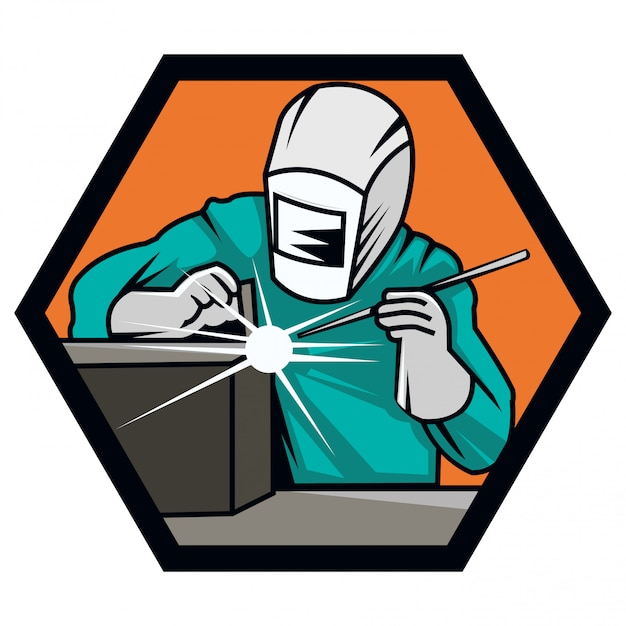 Illustration of modern welder logo with helmet Vector ...
