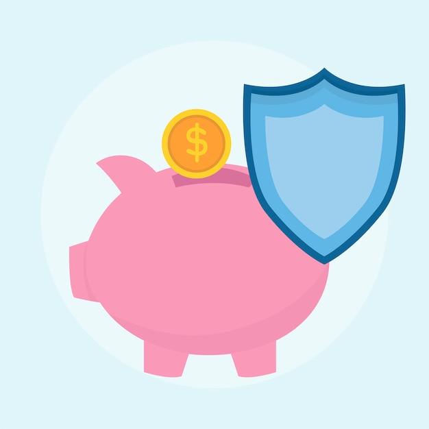 Illustrazione del piano di protezione del risparmio di denaro Vettore gratuito
