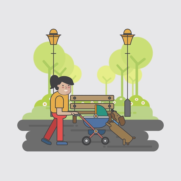 Illustration of a mother and a dog Free Vector