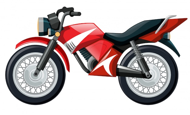 Illustration of motorcycle in red color Free Vector