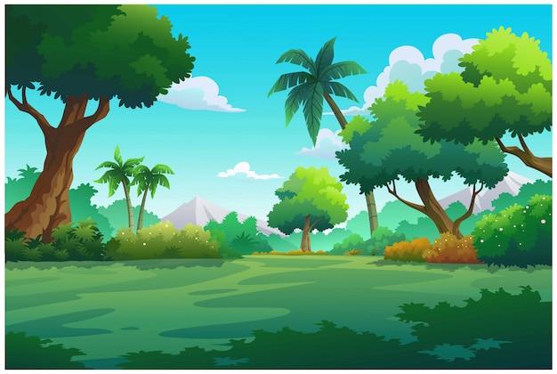 Illustration mountain and sky color bright. Premium Vector