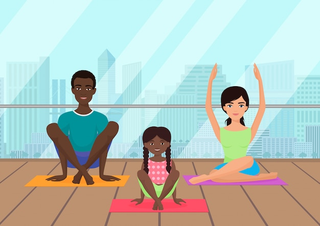 Illustration of the multi-ethnic family meditating in fitness room on the city. Premium Vector