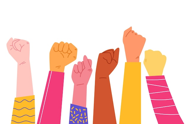 Illustration of multiracial raised fists Free Vector