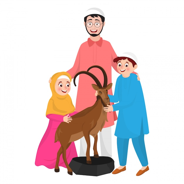 Illustration of muslim man with his child and animal goat character Premium Vector