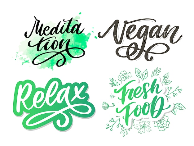 Illustration of my therapy is meditation. lettering poster for yoga studio and meditation class. fun letters for greeting and invitation card, t-shirt print . Premium Vector