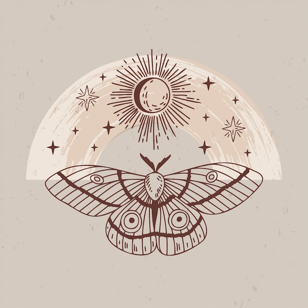 Illustration of mystical and esoteric logos in a trendy minimal linear style.  emblems in boho style - moth, moon, sun and stars. Premium Vector