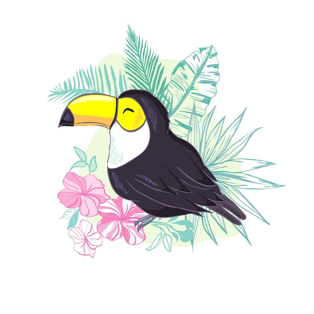An illustration of a nice toucan. Premium Vector