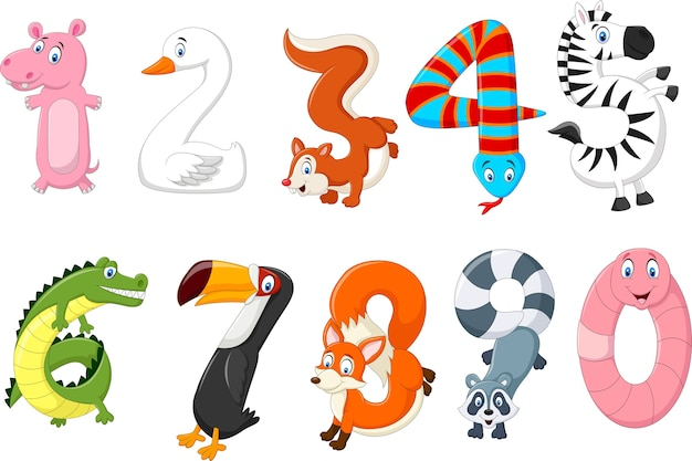 Illustration of number with a concept africa animals Premium Vector